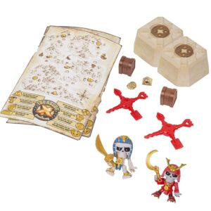 Treasure X in a box and figurines shown outside of the box.