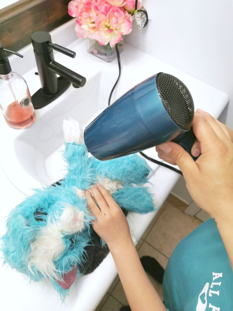 Using a hairdryer to finish drying the Scruff-a-Luvs.