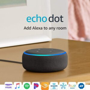 An Echo Dot placed on a bedroom side table.