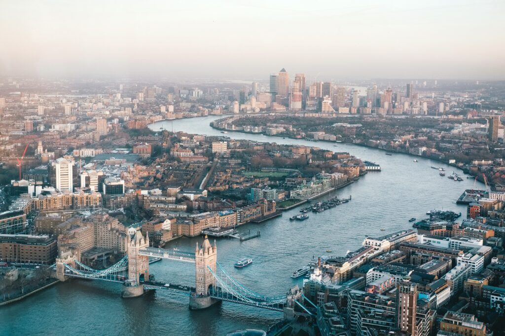An aerial view of London. You can see London Bridge and more.