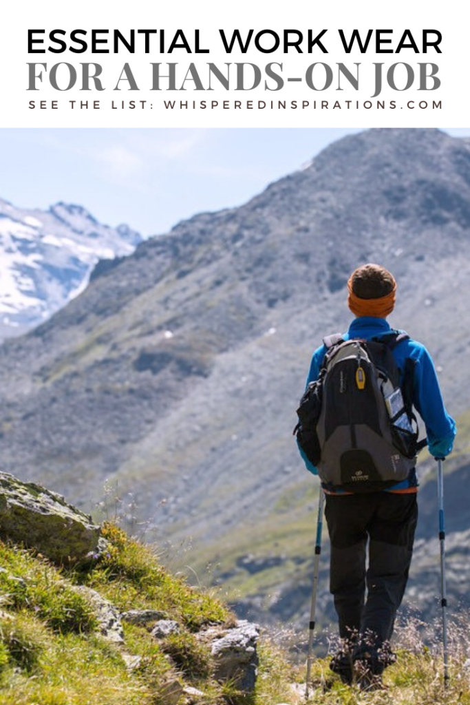 """Man is hiking, he has hiking gear on and walking sticks. The mountains are seen in front of him. They are massive. A banner reads, """"Essential Workwear for a hand-on job."""""""
