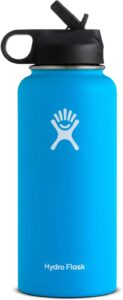 A bright blue Hydroflask with a straw cap.