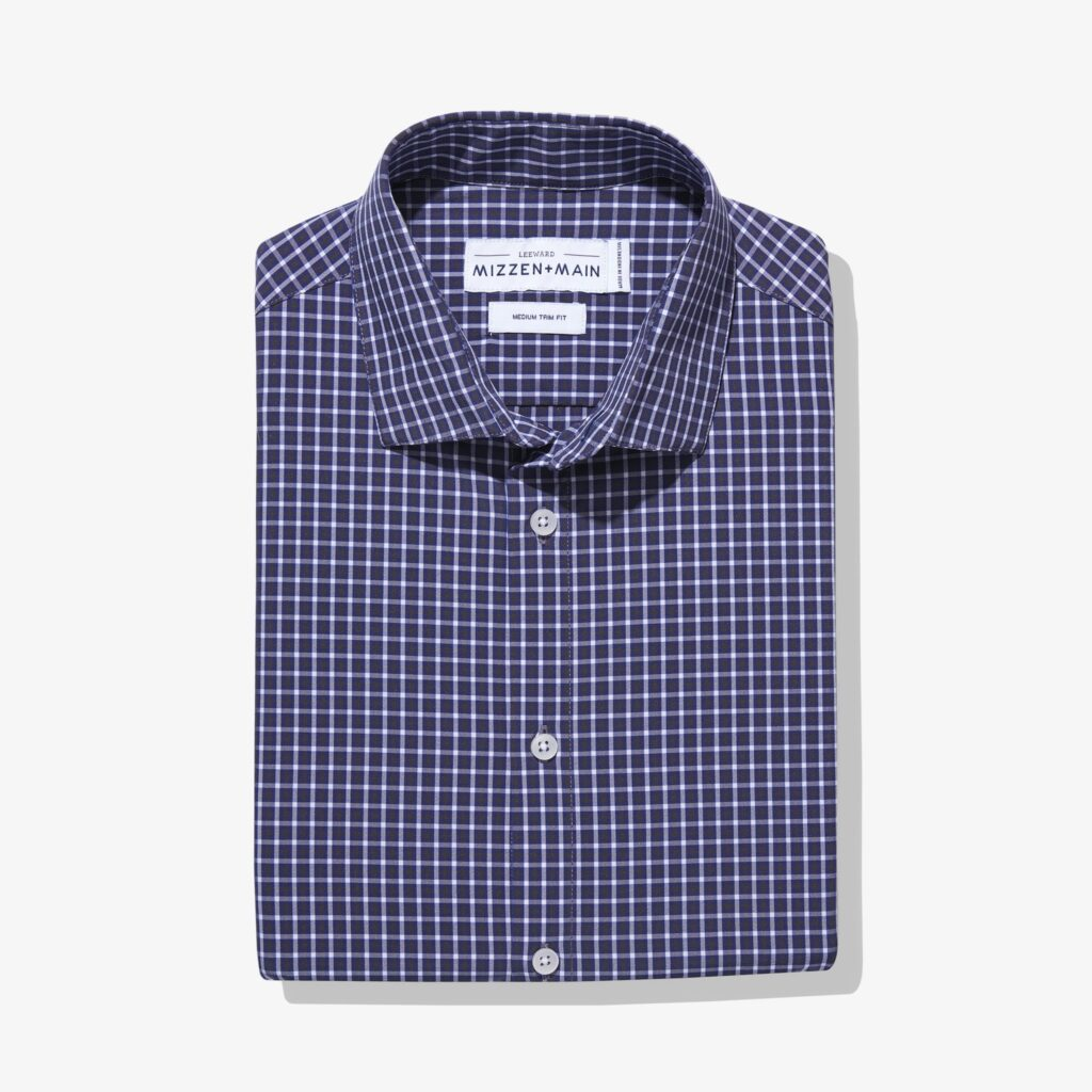A Leeward dress shirt in navy blue from Mizzen+Main.