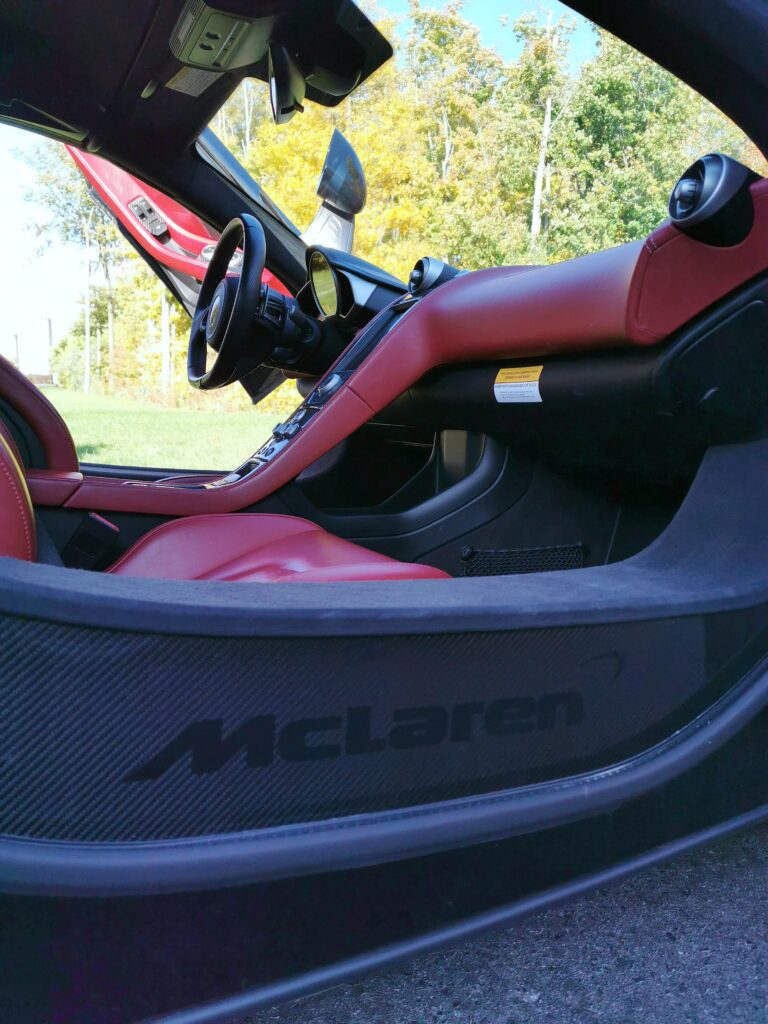 The interior door of the McLaren. Lower view of it.