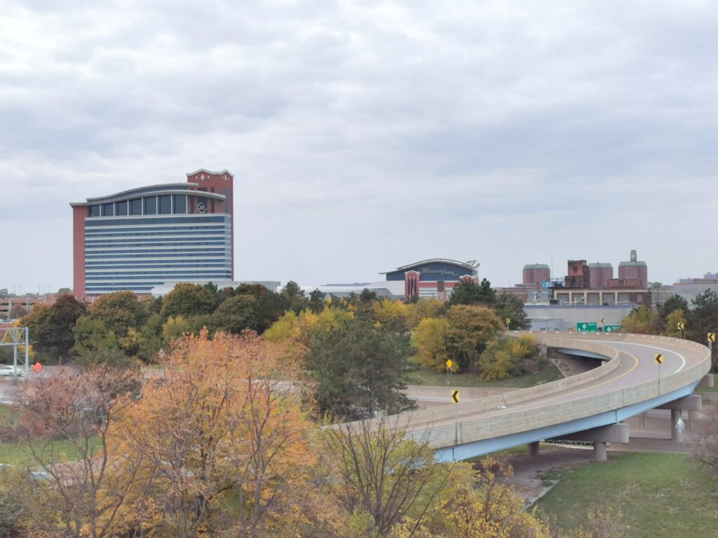 A landscape shot of Motorcity Casino.