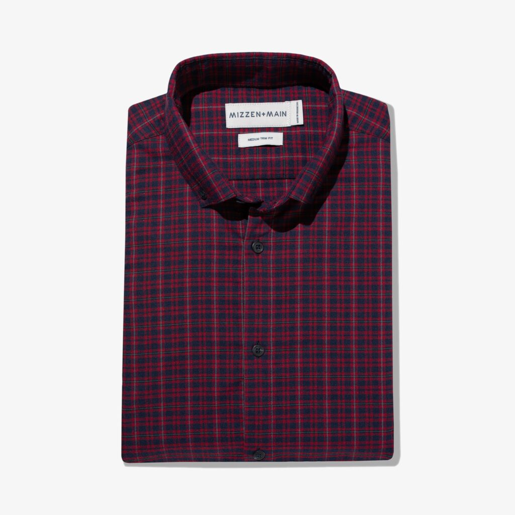 A red Mizzen+Main performance flannel shirt.