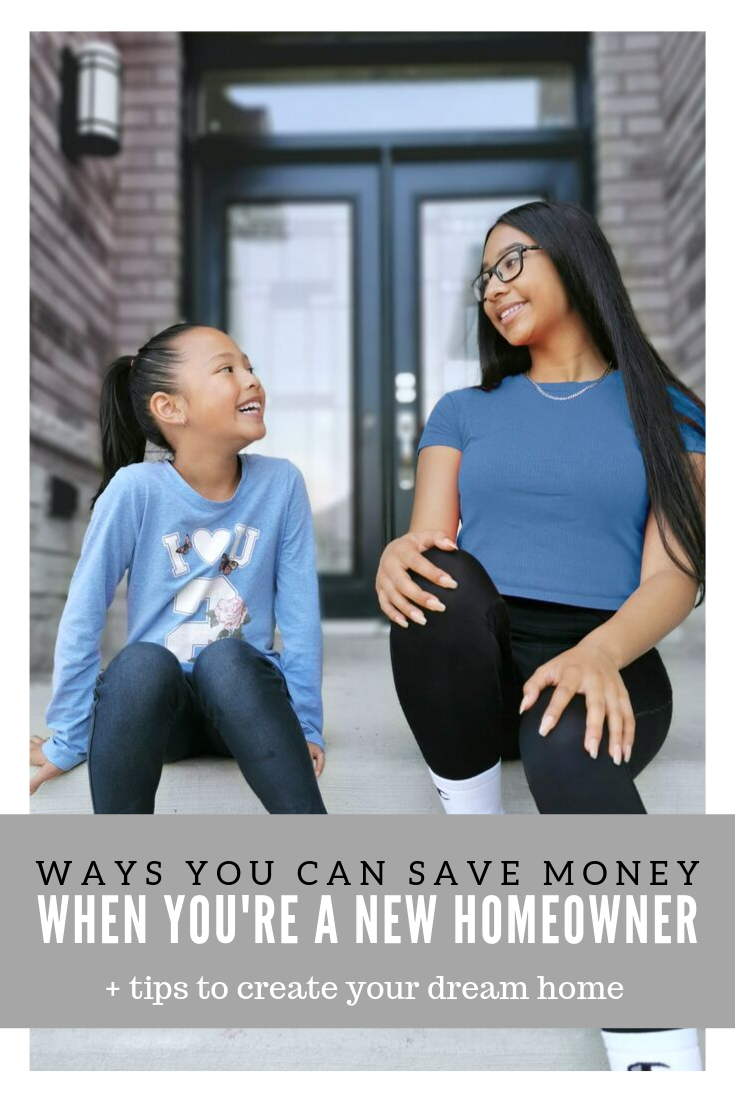 "A picture of Gabby and Mimi sitting on a porch. A banner reads, ""Ways you can save money when you're a new homeowner + tips to make your dream home."""