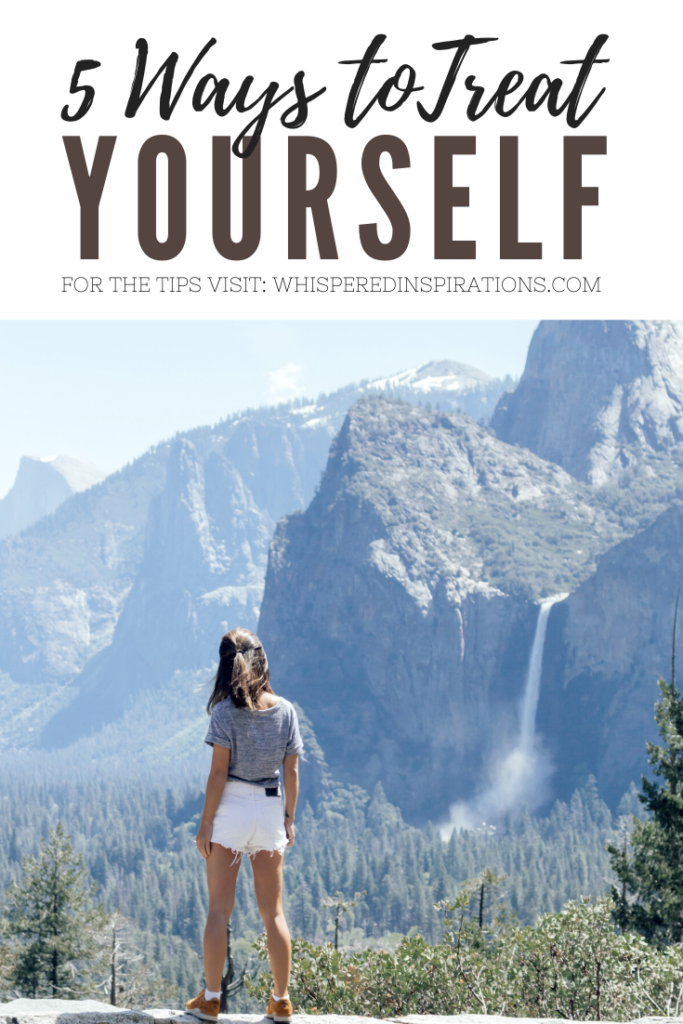 "A banner reads, ""5 ways to treat yourself,"" a picture of Girl hiking, mountain and waterfall is in front of her in distance."