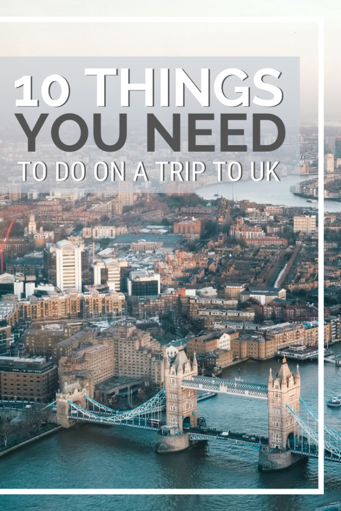 "An aerial view of London. You can see London Bridge and more. A banner reads, ""10 things you need to do on a trip to the UK."""