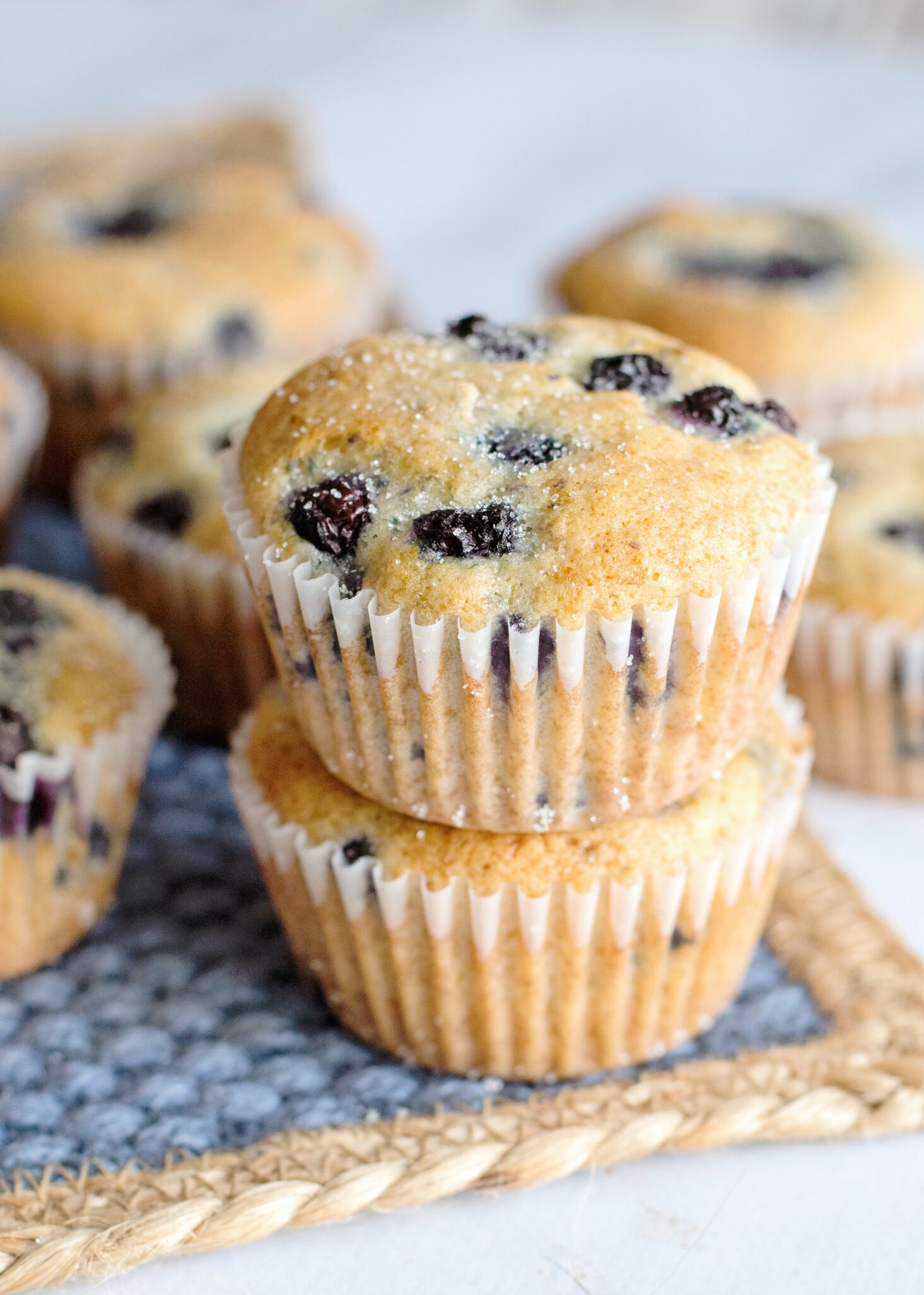 A close up of blueberry muffins in white liners, granulated sugar coats the top.