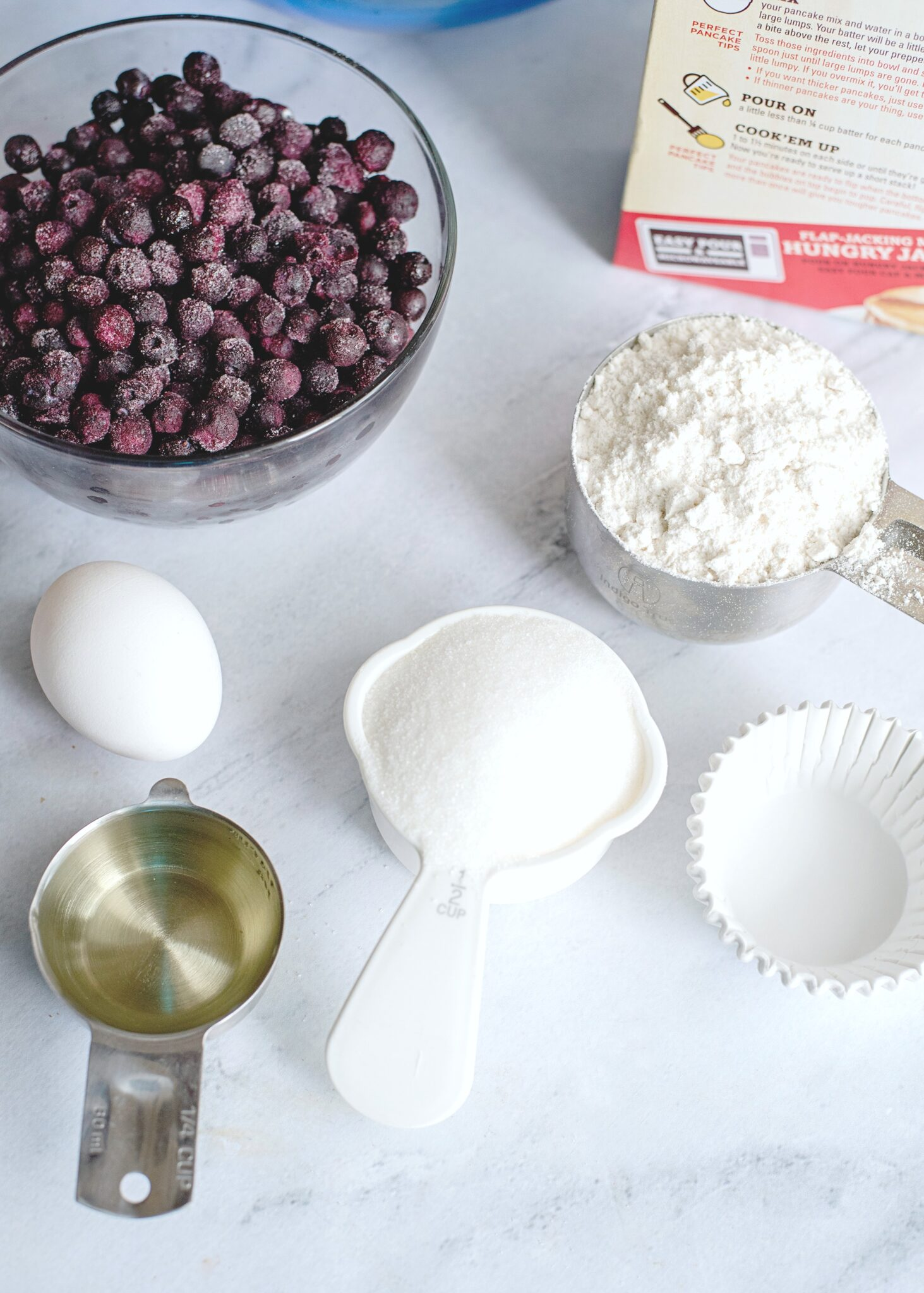 A close up of the ingredients needed for the Blueberry Pancake Muffins.