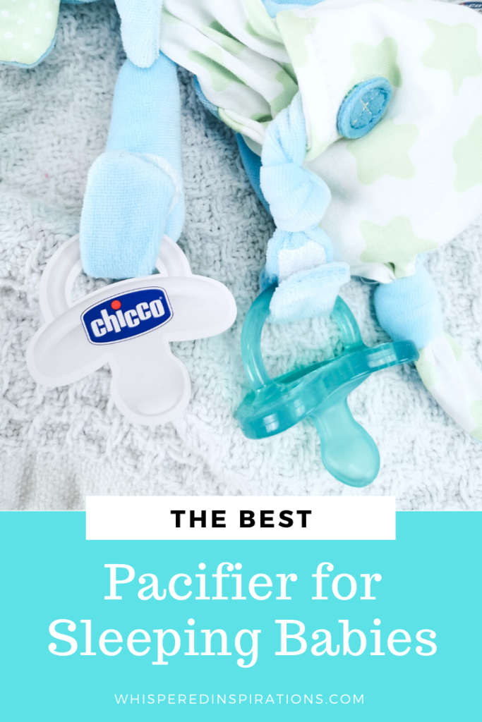 "A baby laying on a blanket, he is looking at the camera. This baby could use one of the best baby pacifiers in 2020, like Chicco. A banner below reads, ""The Best Pacifier for Sleeping Babies."""