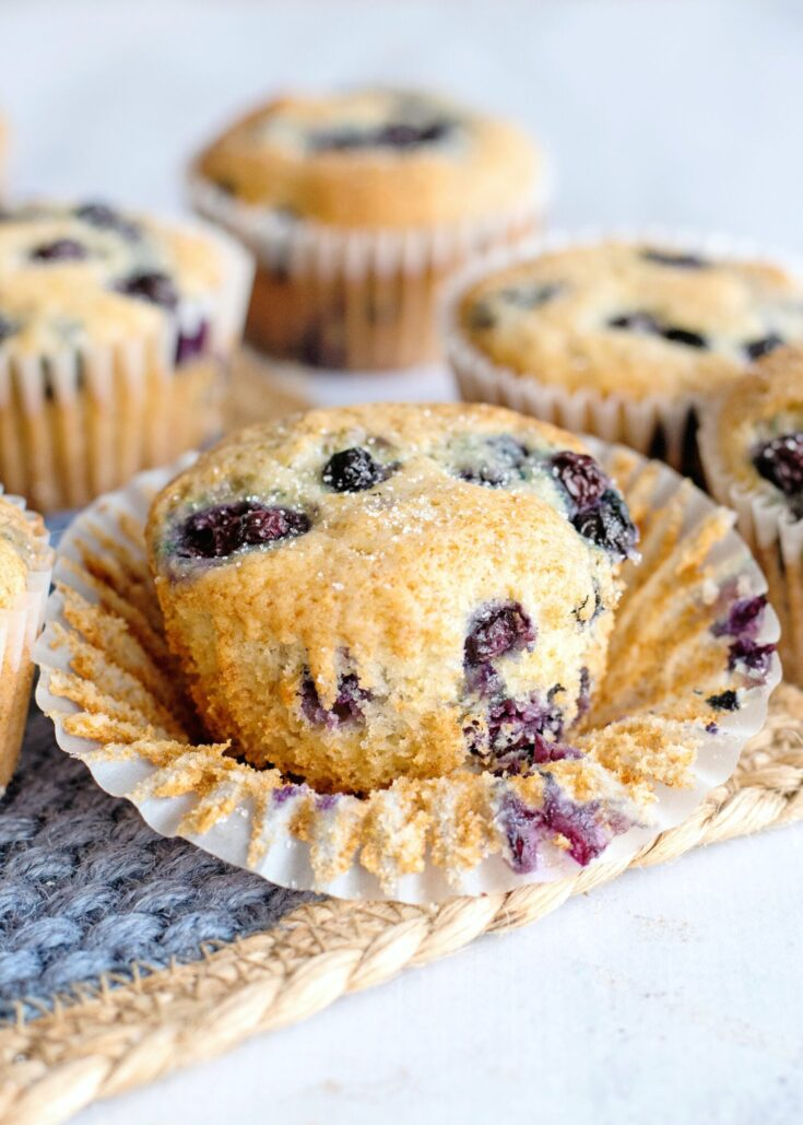 One of the baked blueberry pancake muffins opened.