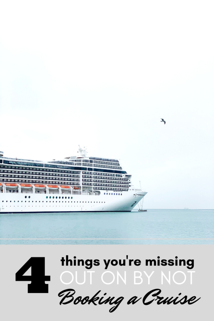 A cruise ship against a white sky, a bird flies high in the sky. A banner reads, '4 things you are missing out on by not booking a cruise.'