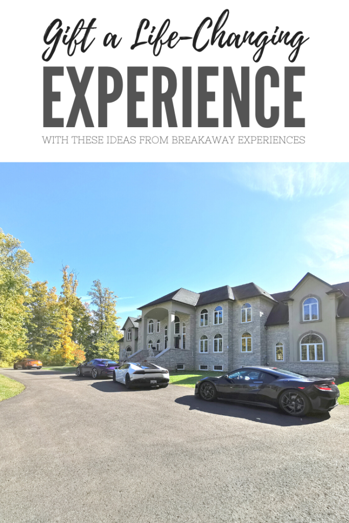 "A banner reads, ""Gift a Life-Changing Experience with these ideas from Breakaway Experiences."" An estate is shown with supercars parked out front."