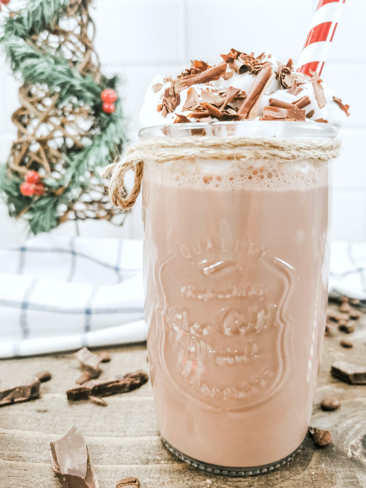 Super close up view of the delicious Hazelnut Protein Iced Mocha.