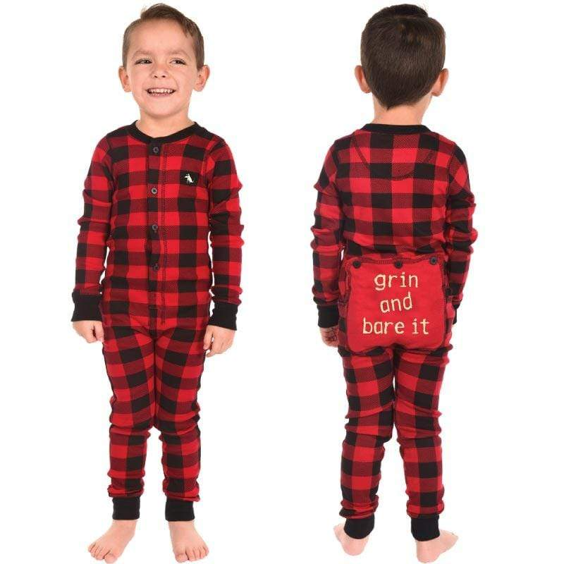 "Super cute red and black plaid flap jack pajamas. The back side reads, ""Grin and Bare It."""