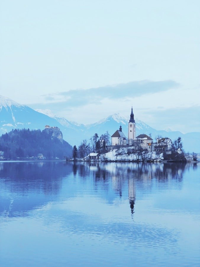 A beautiful landscape in Lake Bled.