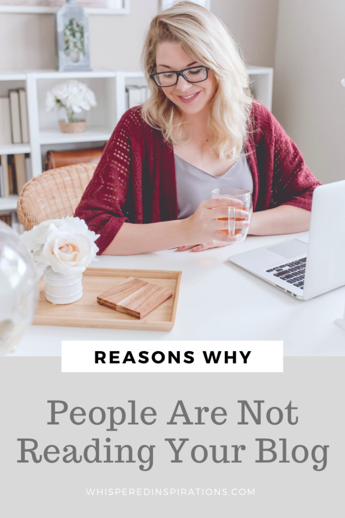"Blonde woman sits down at her desk with her laptop. A banner below reads, ""Reasons why people are not reading your blog."""
