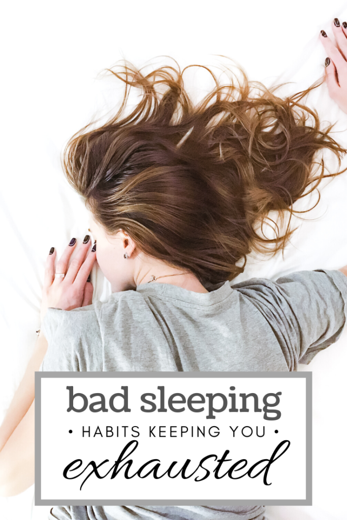 """Woman lies on her stomach, tired, in bed on a white sheet. A banner reads, """"bad sleeping habits keeping you exhausted."""""""