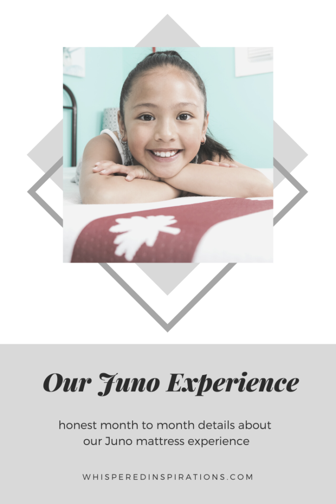 "A little girl lays on her new Juno Mattress and smiles. A banner reads, ""Our Juno experience. Month to month details about our Juno experience."""