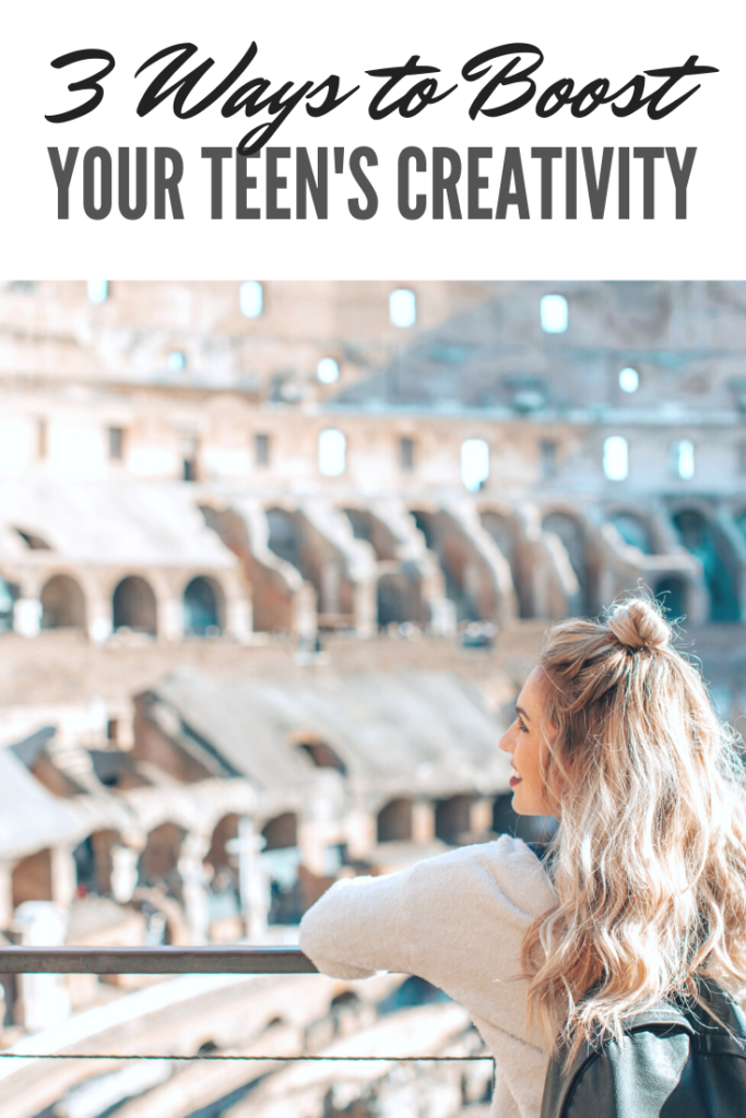 """A teenager is pictured with a back back and is smiling with her head turn. In front of her, is a gorgeous stadium. She looks hopeful and happy. A banner reads, """"3 ways to boost your teen's creativity."""""""