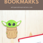 "A banner reads, ""DIY Baby Yoda bookmarks,"" and a book is shown with a Baby Yoda bookmark on top of a book."