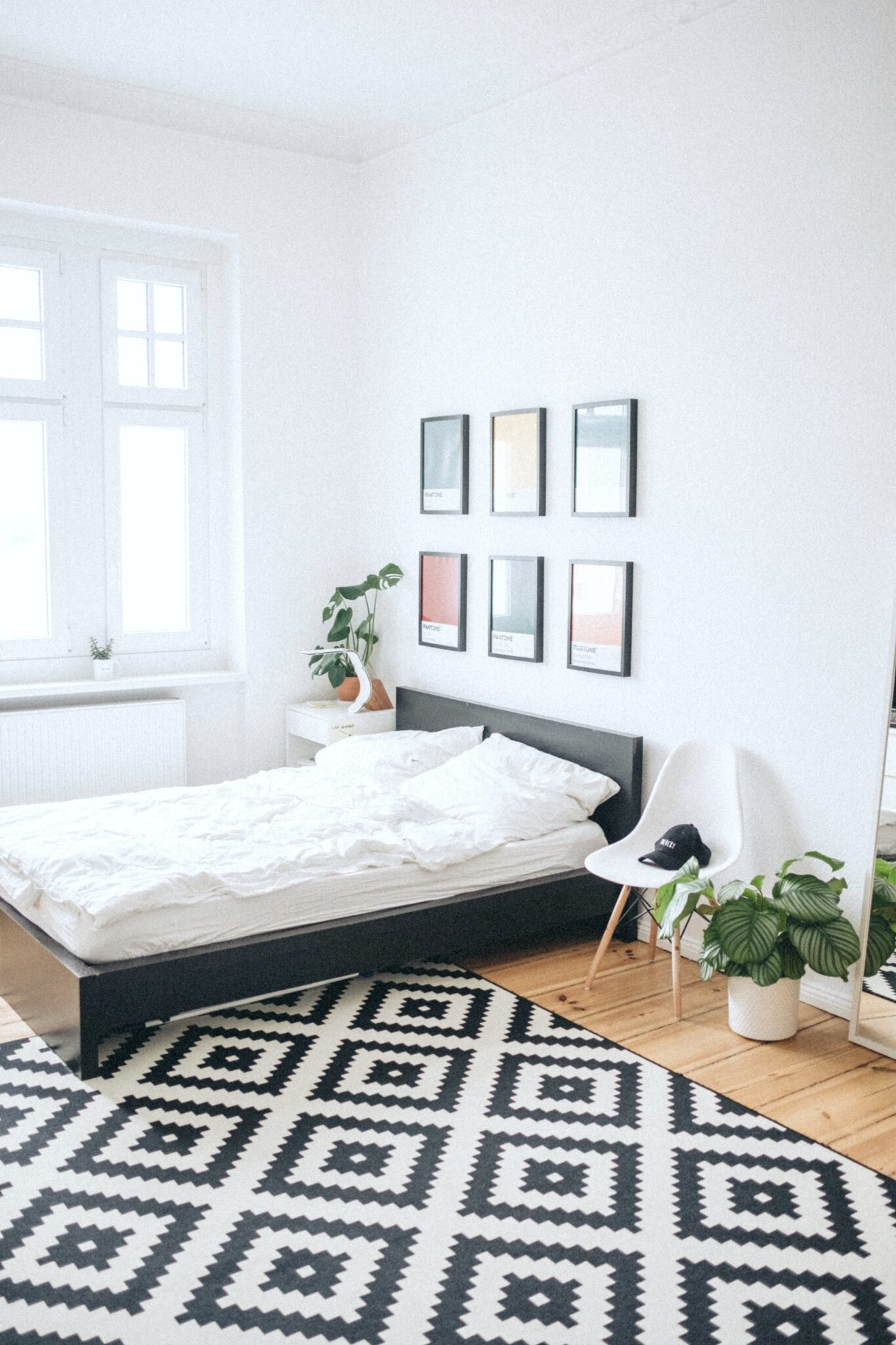 A bedroom with a black and white rug, clean, minimal style, with plants.