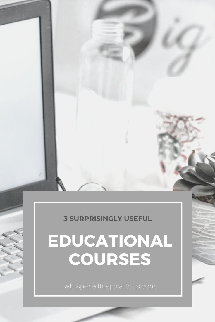 "Laptop with iPhone, glasses, succulent on desk. A banner reads, ""3 surprisingly educational courses."""
