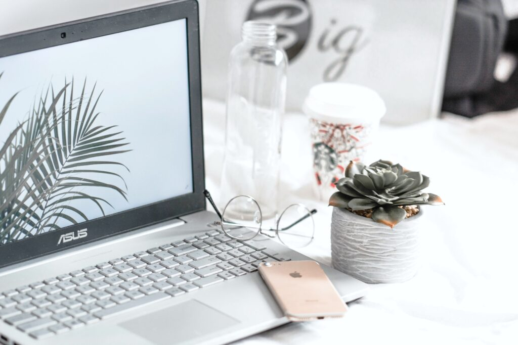 Laptop with iPhone, glasses, succulent on desk.