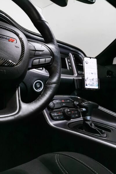 The inside of a Dodge Challenger with ProClip phone holder.
