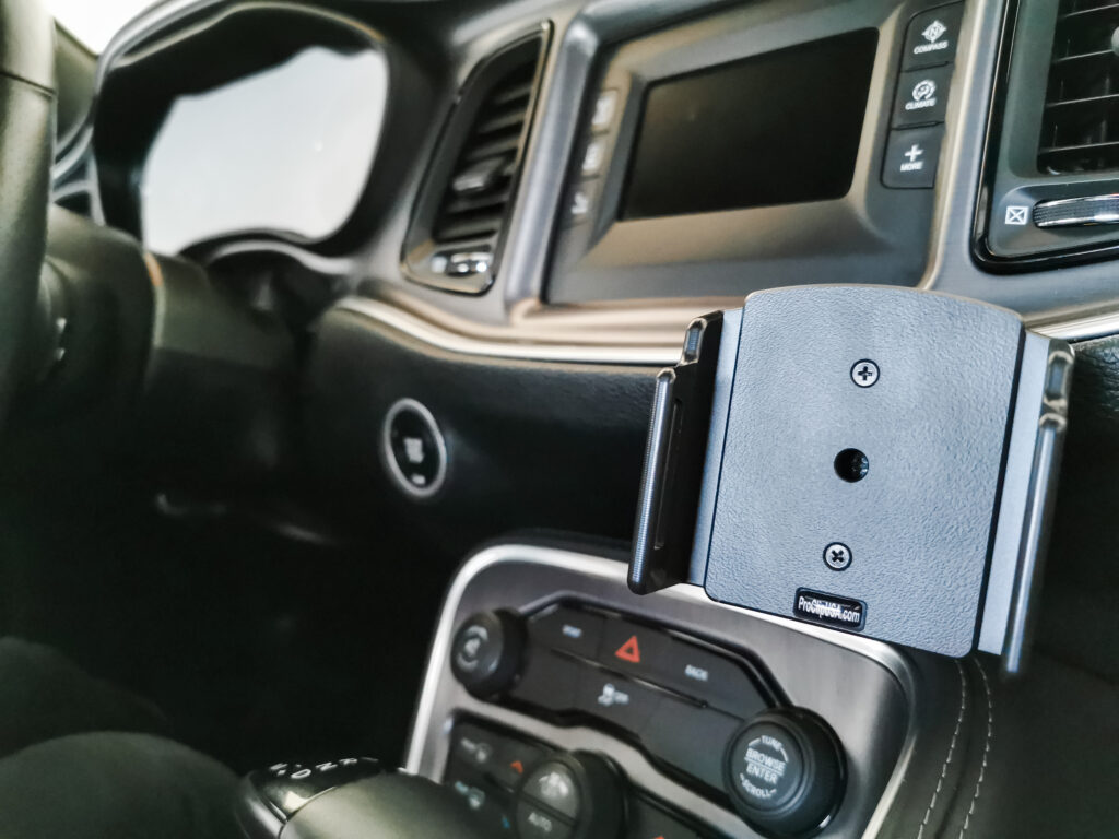 The ProClip device holder is ready to go. It is pictured mounted onto Dodge Challenger.