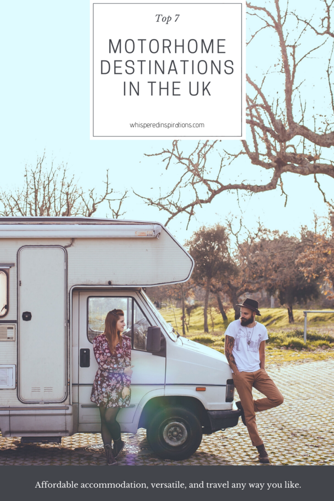 "A young, hip, couple lean against their vintage motorhome. A banner reads, ""Top 7 Motorhome Destinations in the UK."""