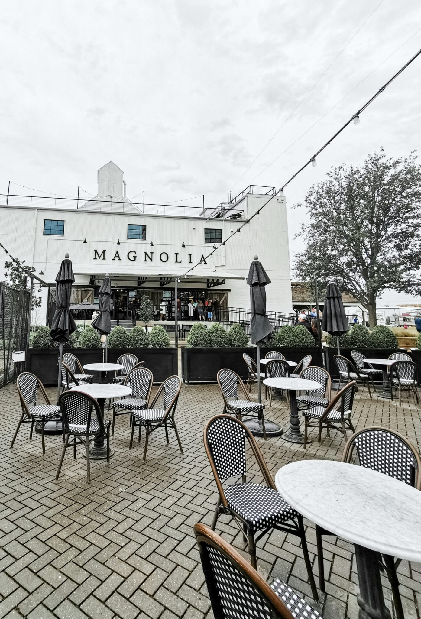 The Magnolia Market and Silos Baking Co. patio seating.