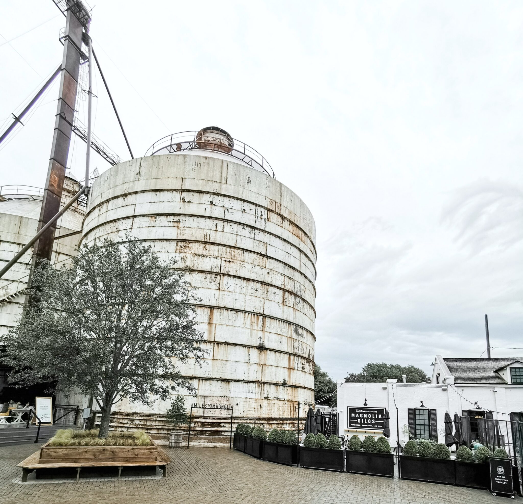 The Silos at Magnolia Market and the Silos Baking Co. in the background.