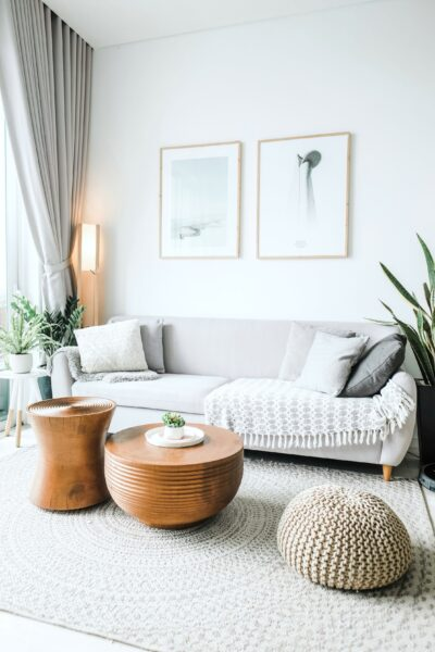 A beautiful boho living room, a reason to consider what the practical benefits of homeowners insurance are.