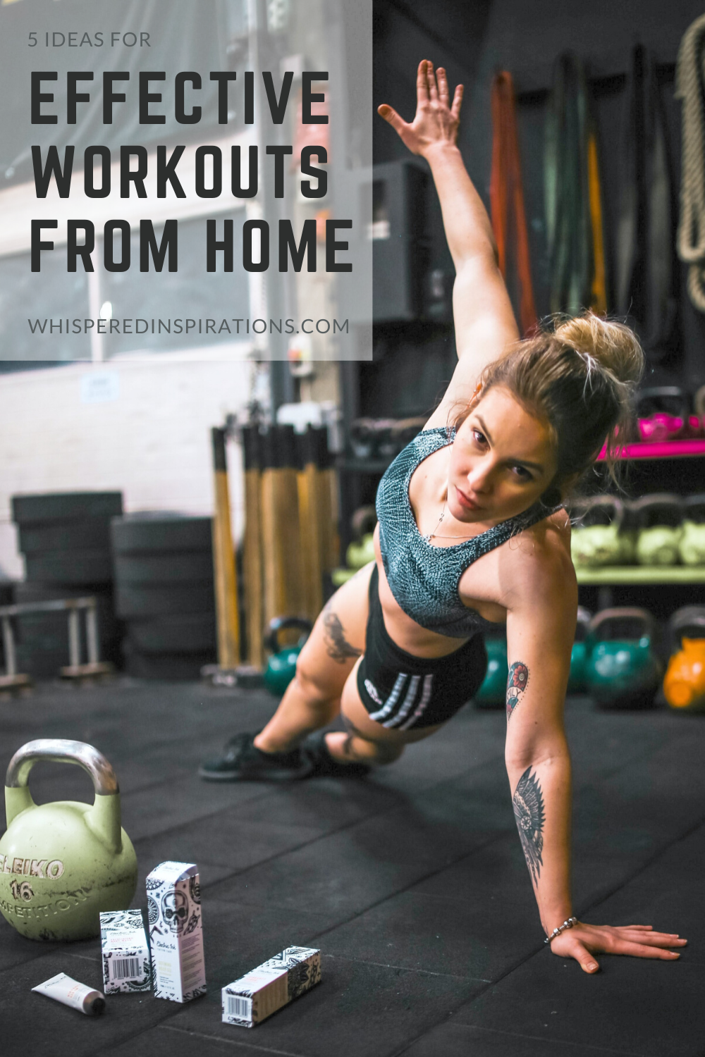 Woman is working out in her home gym. It's possible to have effective workouts from work.