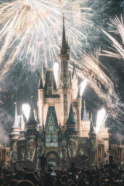 A picture of Disney World during the fireworks. You can see Walt Disney holding hands with Mickey as a silhouette.