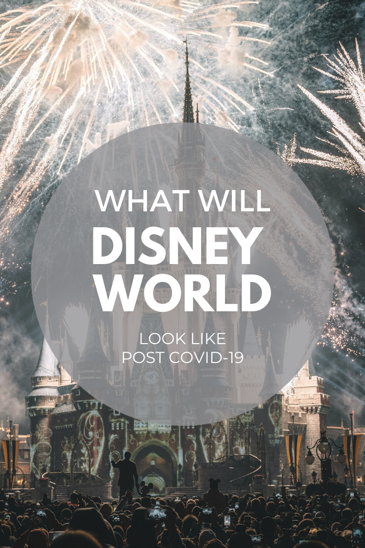 """A picture of Disney World during the fireworks. You can see Walt Disney holding hands with Mickey as a silhouette. A banner reads, 'What will Disney World Look Like Post Covid-19?"""""""