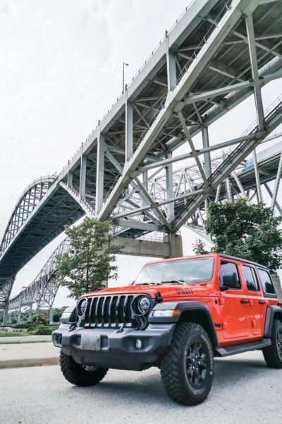 A 2020 Jeep Wrangler is parked under the Bluewater Bridge in Sarnia, ON.