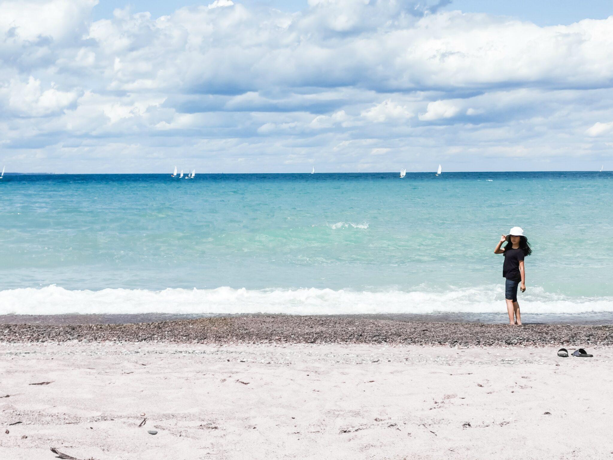 Mimi on the shore of Cantara Beach.