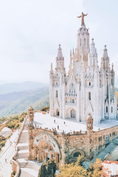 A beautiful church in Barcelona, Spain. It sits upon a mountain top.