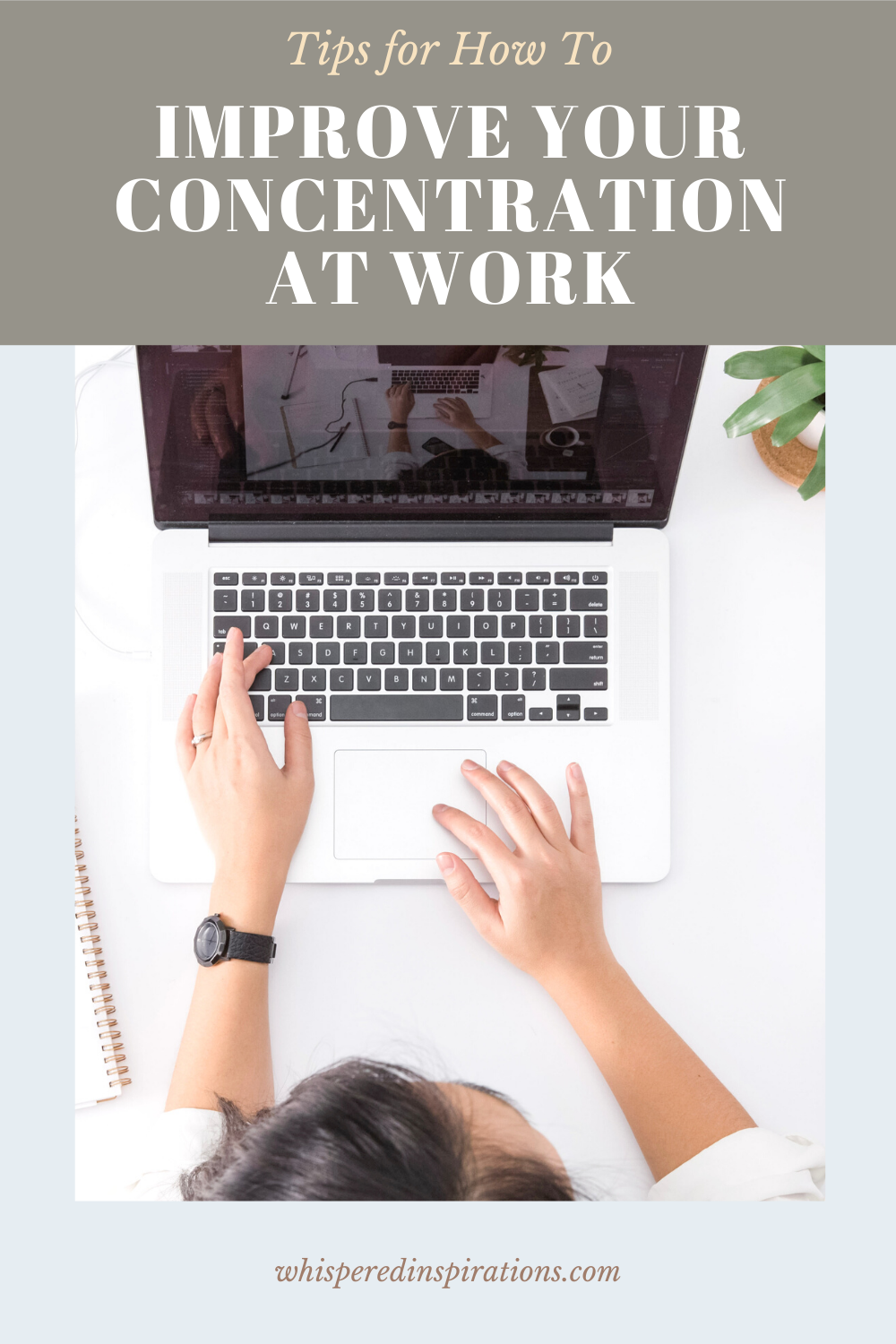 A woman types on a computer working in an office setting. This article covers tips on how to improve your concentration at work.