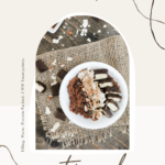 """A flat lay of healthy, protein-packed Almond Joy oatmeal. Chocolate, coconut, and almonds surround the bowl. A banner reads, """"Protein-Packed Almond Joy Oatmeal."""""""
