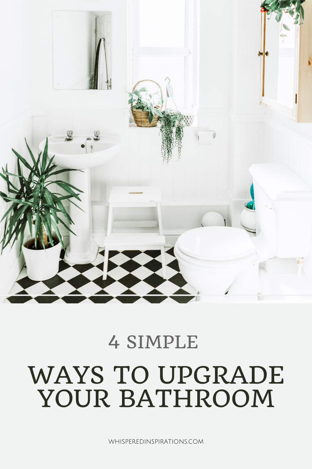 A black and white bathroom in need of some upgrades. This article covers 4 simple ways to upgrade your bathroom.