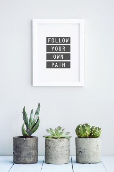"""A wall art says, """"Follow Your Own Path,"""" and below are 3 succulents. This article covers the 6 benefits of growing succulents in your home."""