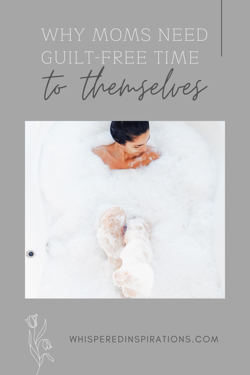 Woman smiles while she relaxes in a bathtub. This article covers why moms need guilt-free time to themselves.