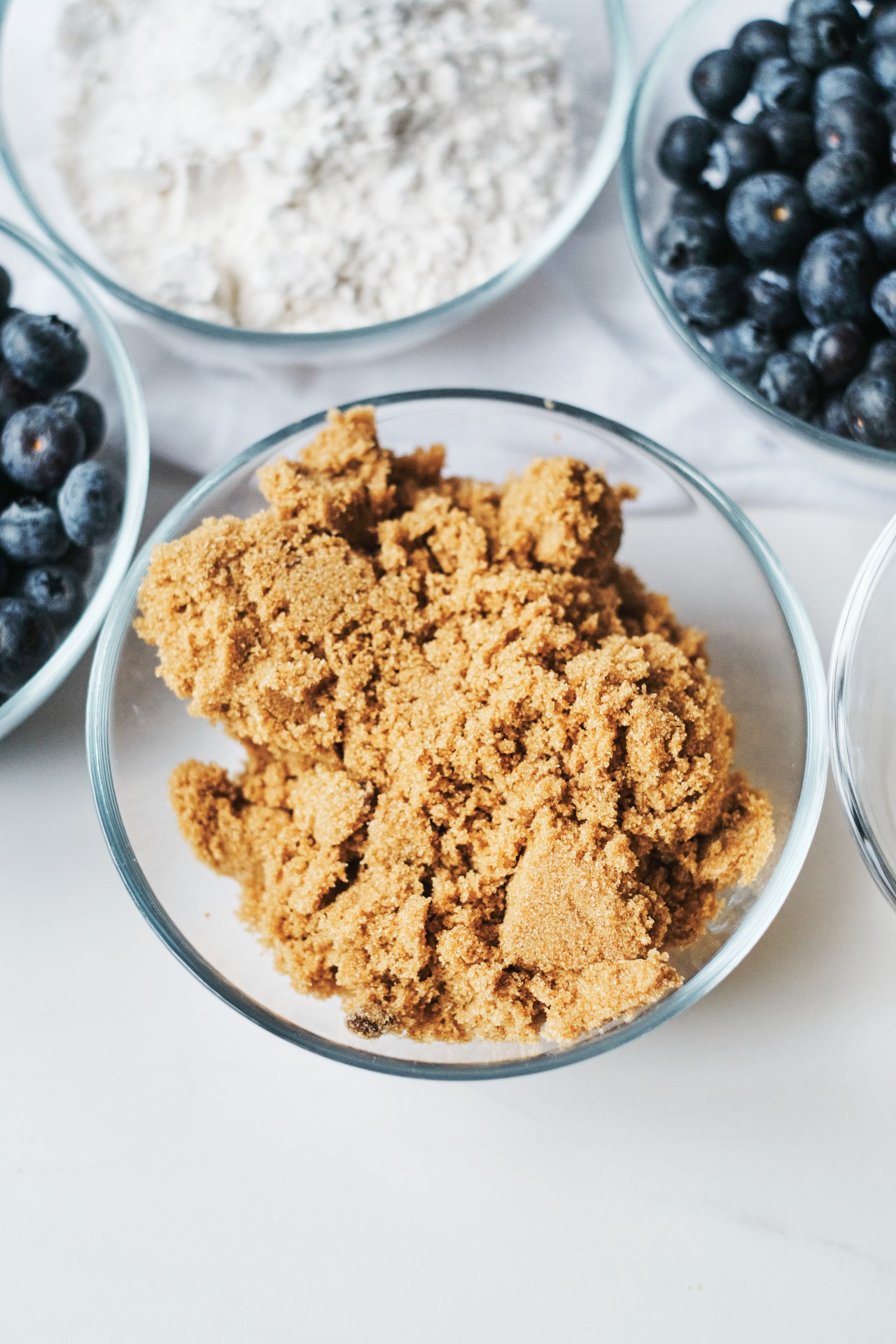 A close up of the brown sugar in the Blueberry Crumble Pie recipe.