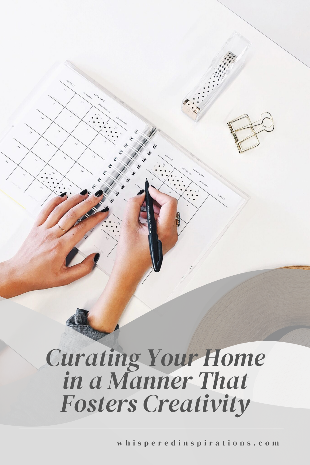 A woman writes in a planner, her hat is off and next to her. This article covers curating your home in a manner that fosters creativity.